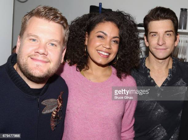 James Corden Barrett Doss who plays Rita and Andy Karl who plays Phil pose backstage at the hit musical based on the film Groundhog Day on Broadway...