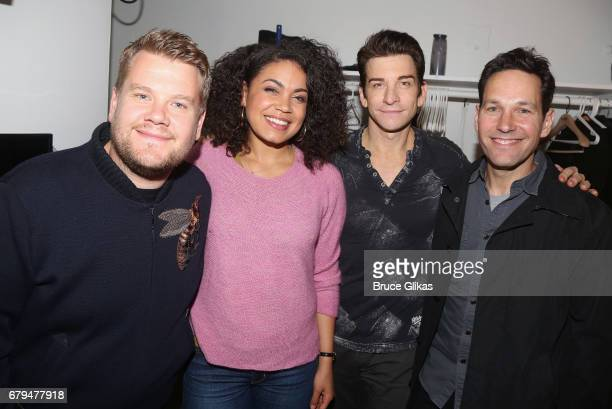 James Corden Barrett Doss who plays Rita Andy Karl who plays Phil and Paul Rudd pose backstage at the hit musical based on the film Groundhog Day on...