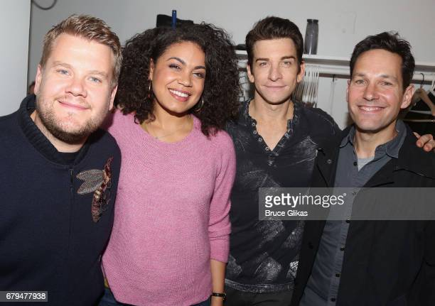 "James Corden, Barrett Doss, who plays ""Rita"", Andy Karl, who plays ""Phil"", and Paul Rudd pose backstage at the hit musical based on the film..."