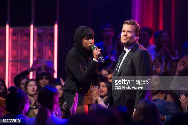 James Corden battles Jennifer Hudson in Drop the Mic on The Late Late Show with James Corden airing Wednesday June 7th 2017 from London On The CBS...
