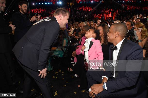 James Corden Blue Ivy Carter and Jay Z during The 59th GRAMMY Awards at STAPLES Center on February 12 2017 in Los Angeles California