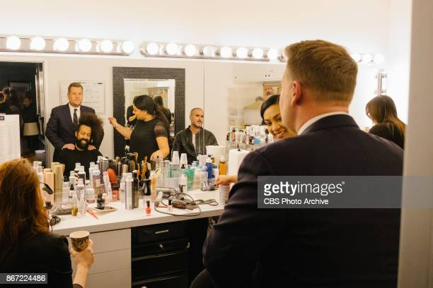 James Corden chats in the green room with Reggie Watts and Zane Lowe during 'The Late Late Show with James Corden' Monday October 23 2017 On The CBS...