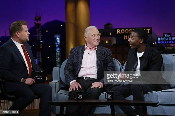 James Corden chats with Anthony Hopkins and Jerrod Carmichael on 'The Late Late Show with James Corden' Thursday May 19 2016 on The CBS Television...