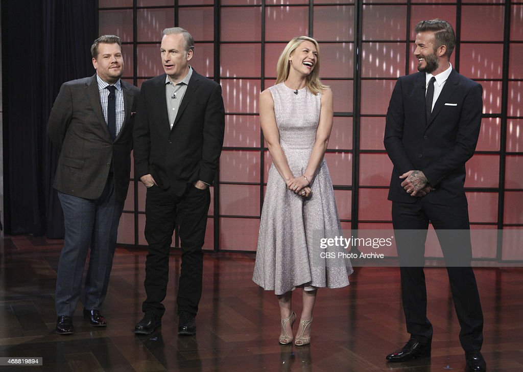 James Corden chats with guests Bob Odenkirk, Claire Danes and David Beckham on 'The Late Late Show with James Corden,' Monday, March 30 (12:37 -- 1:37 AM, ET/PT) on the CBS Television Network.