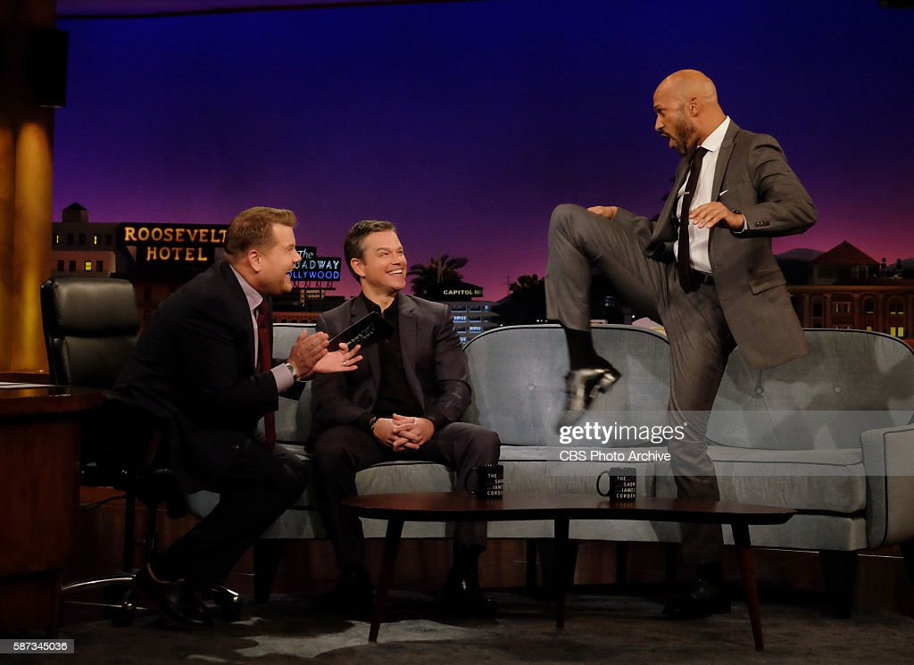 James Corden chats with Matt Damon and Keegan-Michael Key on 'The Late Late Show with James Corden,' Monday, August 1st 2016, on The CBS Television Network.