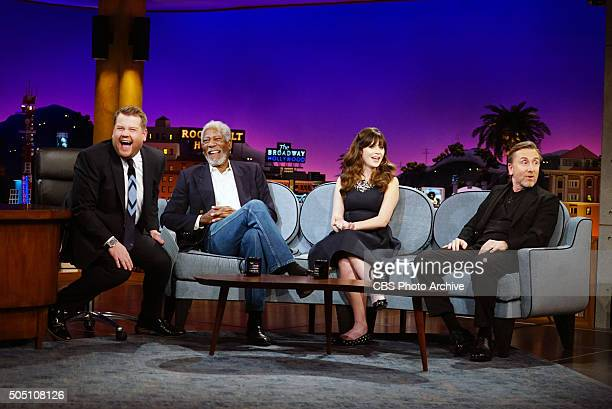 James Corden chats with Morgan Freeman Zooey Deschanel and Tim Roth on 'The Late Late Show with James Corden' Monday January 11 on The CBS Television...