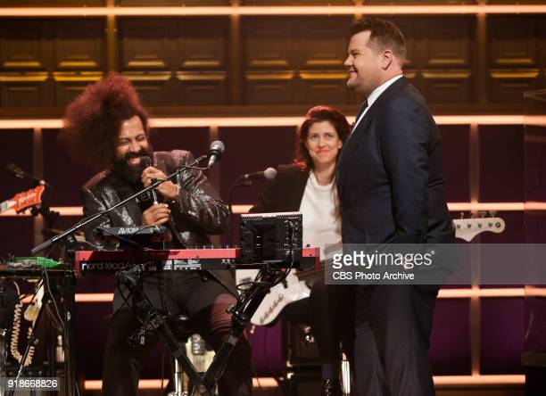 James Corden chats with Reggie Watts and Hagar BenAri during The Late Late Show with James Corden Tuesday February 6 2018 On The CBS Television...