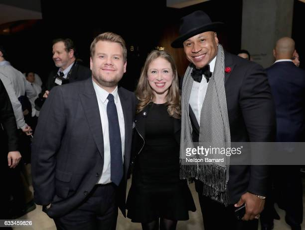 James Corden Chelsea Clinton and LL Cool J attend Lincoln Center's American Songbook Gala at Alice Tully Hall on February 1 2017 in New York City
