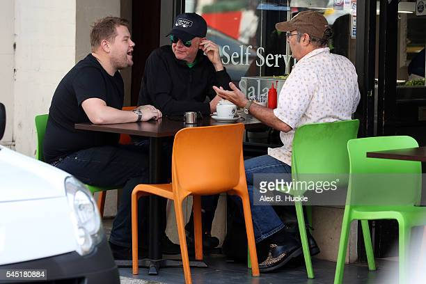 James Corden, Chris Evans and Danny Baker seen at a cafe on July 6, 2016 in London, England.