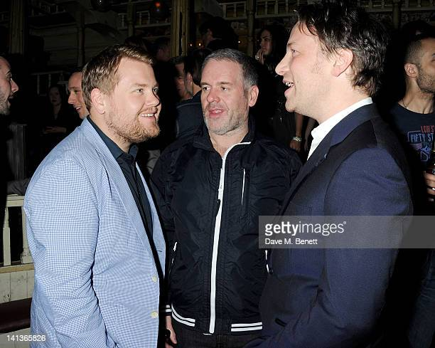 James Corden Chris Moyles and Jamie Oliver attend a private screening of Dexter Fletcher's directorial debut 'Wild Bill' hosted by chef Jamie Oliver...