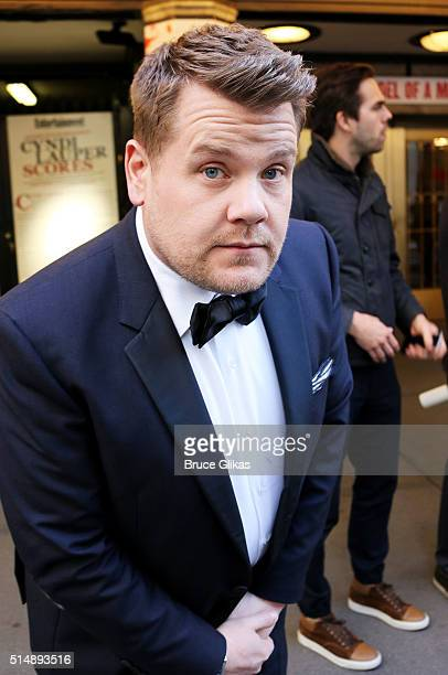 James Corden films a Carpool Karaoke promo for The Late Late Show with James Corden in Times Square on March 11 2016 in New York City