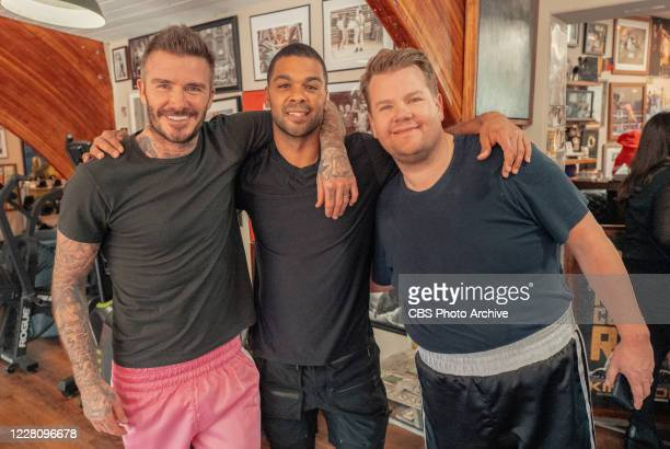James Corden has Two Hours Off and calls David Beckham to hang on The Late Late Show with James Corden Pictured here with trainer Chase Weber...