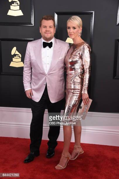 James Corden host of THE 59TH ANNUAL GRAMMY AWARDS and his wife Julia Carey on the Red Carpet at THE 59TH ANNUAL GRAMMY AWARDS broadcast live from...