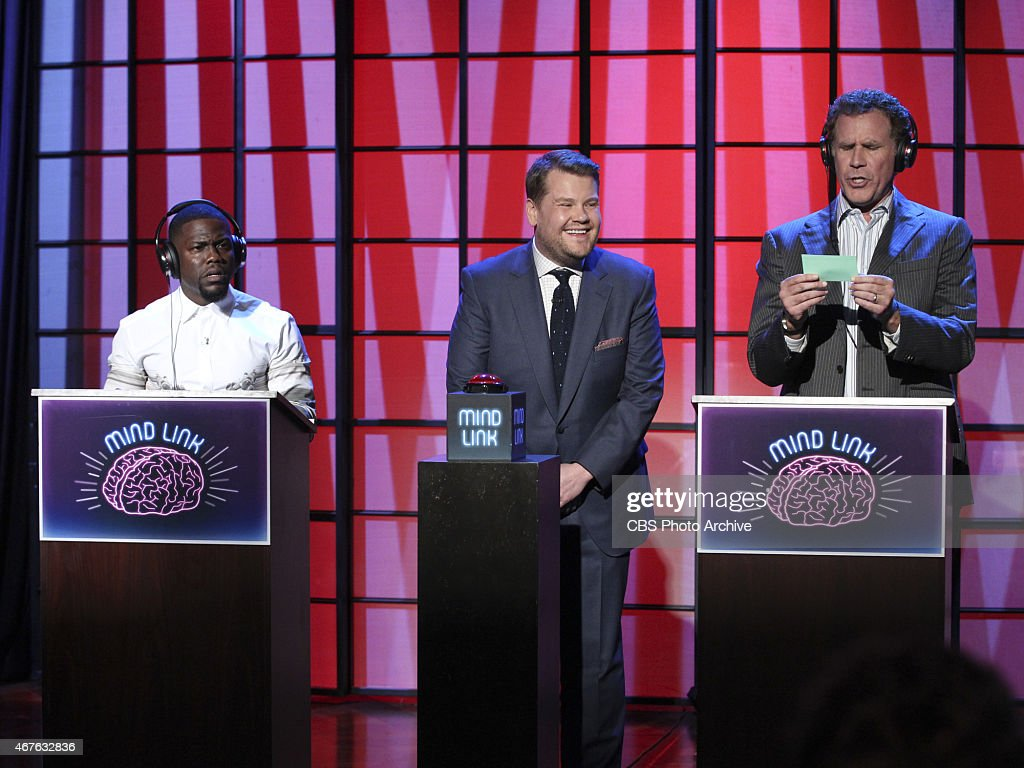 James Corden hosts a game of Mind Link with Kevin Hart and Will Ferrell on 'The Late Late Show with James Corden,' Wednesday, March 25 (12:37 -- 1:37 AM, ET/PT) on the CBS Television Network.