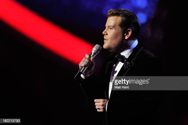 James Corden hosts the Brit Awards 2013 at the 02 Arena on February 20 2013 in London England