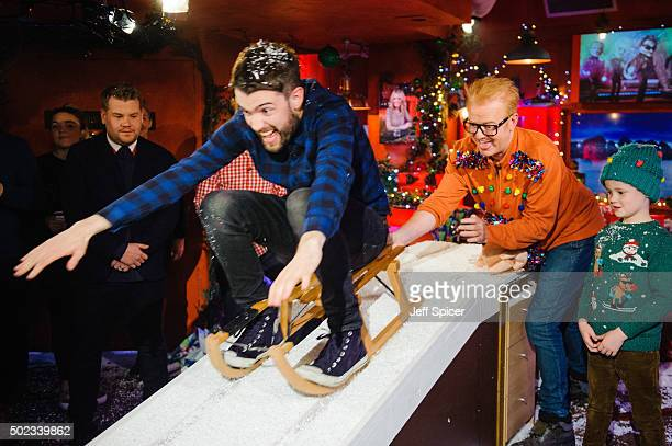 James Corden Jack Whitehall Chris Evans and Noah Evans during a live broadcast of 'TFI Friday' on December 18 2015 in London England