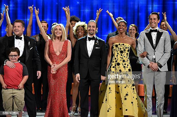 James Corden Jane Krakowski LinManuel Miranda Renee Elise Goldsberry and Zachary Levi onstage during the 70th Annual Tony Awards at The Beacon...