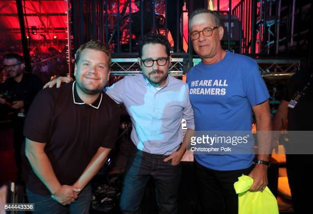 James Corden JJ Abrams and Tom Hanks attend the XQ Super School Live presented by EIF at Barker Hangar on September 8 2017 in Santa California