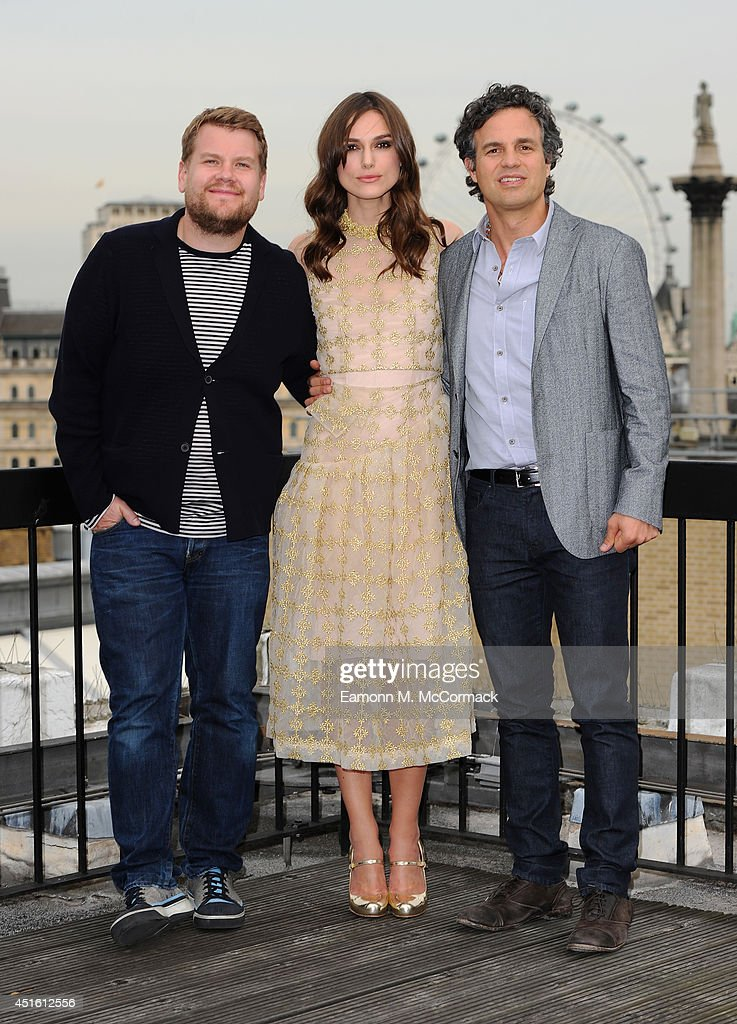 James Corden, Keira Knightley and Mark Ruffalo attend a photocall for 'Begin Again' on July 2, 2014 in London, England.