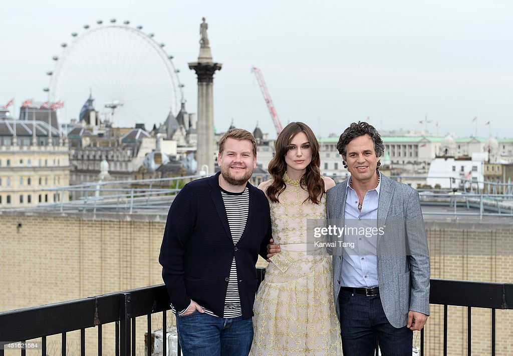 James Corden, Keira Knightley and Mark Ruffalo attend a photocall for 'Begin Again' at Picturehouse Cinemas Ltd on July 2, 2014 in London, England.