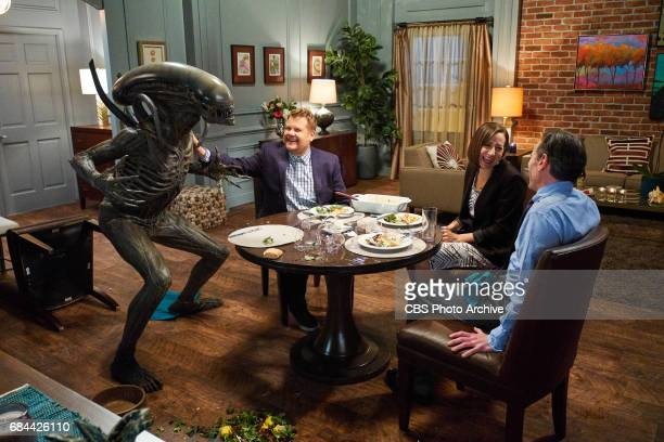 James Corden Kristen Schaal and Billy Crudup performs in Alien Girlfriend during 'The Late Late Show with James Corden' Wednesday November 2 2016 On...