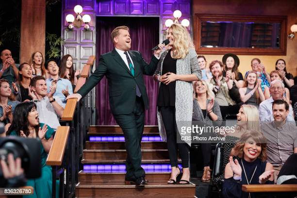 James Corden plays Emoji News with the audience during 'The Late Late Show with James Corden' Tuesday August 15 2017 On The CBS Television Network