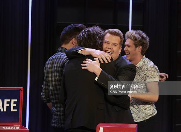 James Corden plays Tattoo Roulette with members of the band One Direction on 'The Late Late Show with James Corden' Thursday December 3rd 2015 on The...