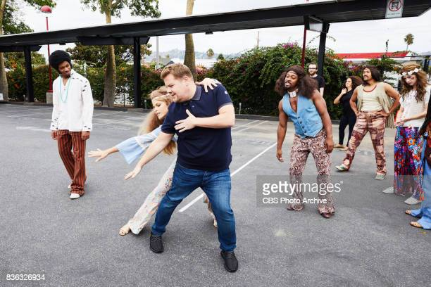 James Corden rehearses Crosswalk The Musical Hair with dancers during 'The Late Late Show with James Corden' Tuesday August 15 2017 On The CBS...