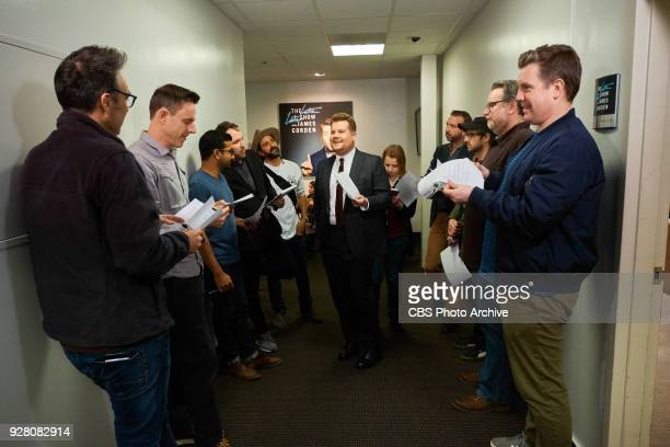 James Corden reviews the monologue with Dicky Eagan John Kennedy Tom Thriveni Rob Crabbe Jason Schneidman Matt Roberts Nate Fernald Tim Siedell and...