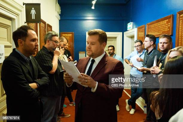 James Corden reviews the monologue with Rob Crabbe and writers Tim Siedell Matt Roberts Thomas Thriveni Dicky Eagan John Kennedy and Sean O'Connor...