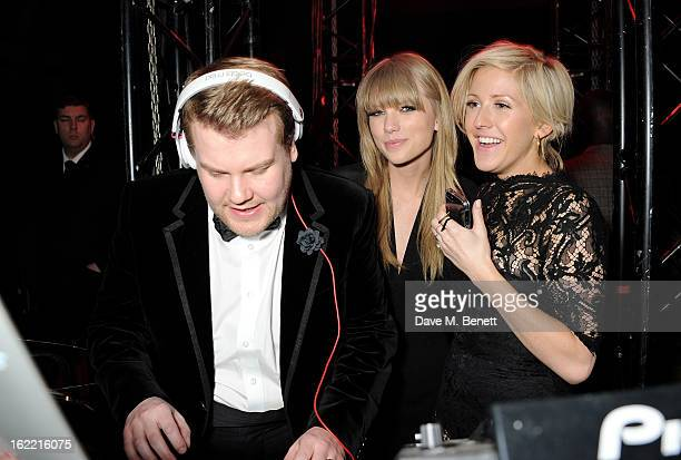 James Corden Taylor Swift and Ellie Goulding attend the Universal Music Brits Party hosted by Bacardi at the Soho House popup on February 20 2013 in...