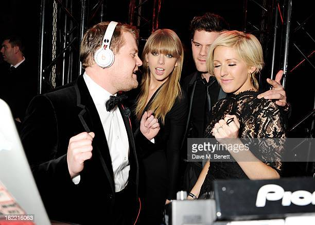 James Corden Taylor Swift Jeremy Irvine and Ellie Goulding DJ at the Universal Music Brits Party hosted by Bacardi at the Soho House popup on...