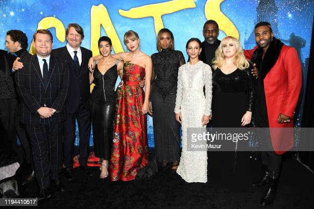 James Corden Tom Hooper Mette Towley Taylor Swift Jennifer Hudson Francesca Hayward Idris Elba Rebel Wilson and Jason Derulo attend The World...