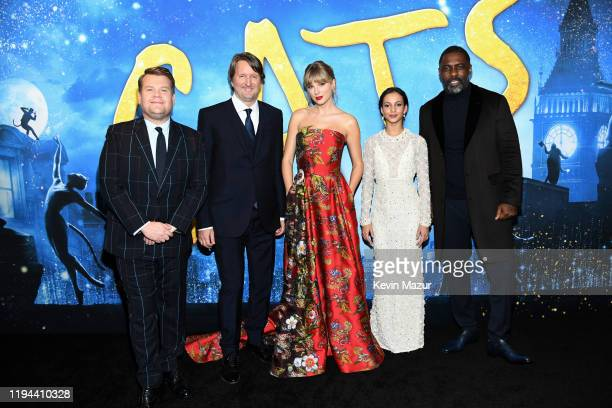 James Corden, Tom Hooper, Taylor Swift, Francesca Hayward, and Idris Elba attend The World Premiere of Cats, presented by Universal Pictures on...