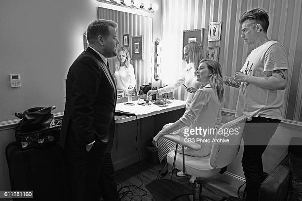 James Corden visits with Ellen Pompeo backstage during The Late Late Show with James Corden Wednesday Sept 21st On The CBS Television Network