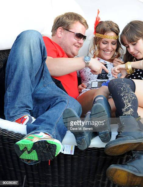 James Cordon and Caroline Flack attend the Bacardi VIP Lounge at The V Festival at Hylands Park on August 23, 2009 in Chelmsford, England.