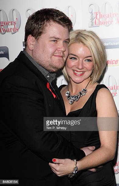 James Cordon and Sheridan Smith pose for photos in the press room after presenting the Theatregoers' Choice Awards at the Price of Wales Theatre on...