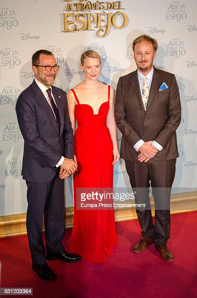 James Costos, actress Mia Wasikowska and James Bobin attend 'Alice Through The Looking Glass' premiere on May 12, 2016 in Madrid, Spain.