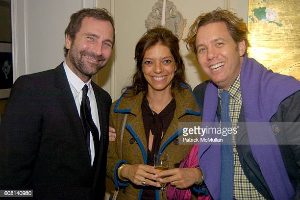 James Costos, Carolina Irving and Michael S. Smith attend MICHAEL S SMITH AGRARIA COLLECTION LAUNCH at Lowell Hotel on April 18, 2007.