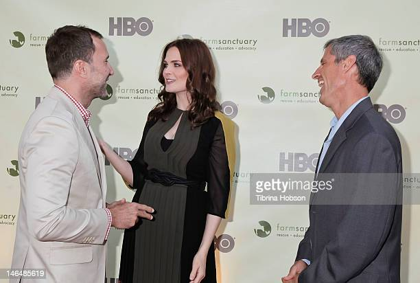 James Costos Emily Deschanel and Gene Baur attend 'Bringing Farm Sanctuary To All' a celebration of expanding compassion on June 16 2012 in Los...