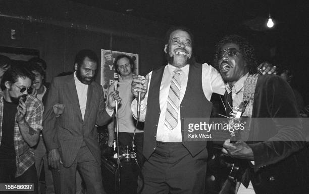 James Cotton and Buddy Guy perform during Muddy Waters' wake at The Lounge Chicago Illinois May 3 1983