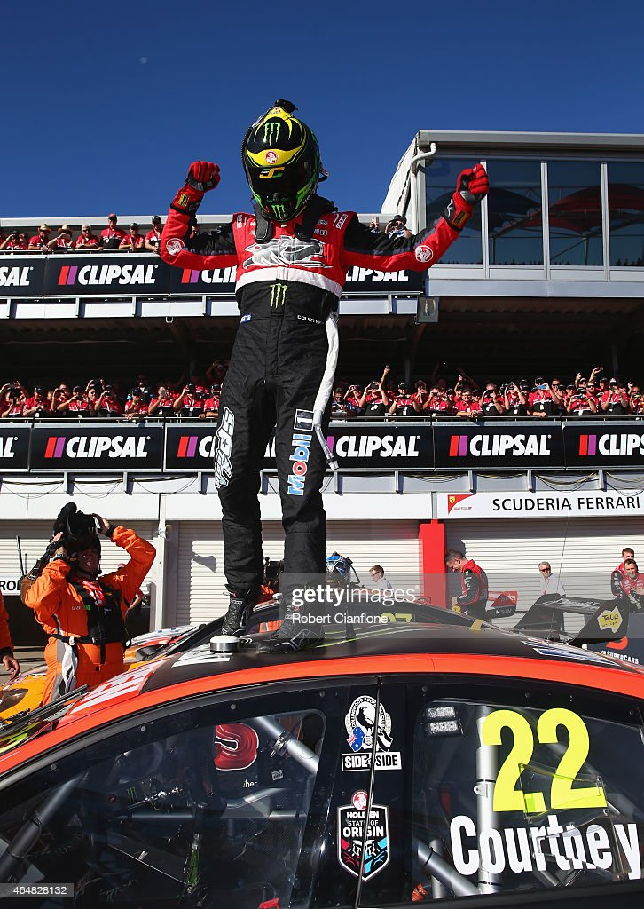 James Courtney driver of the #22 Holden Racing Team Holden celebrates after winning race three for the V8 Supercars Clipsal 500 at Adelaide Street Circuit on March 1, 2015 in Adelaide, Australia.