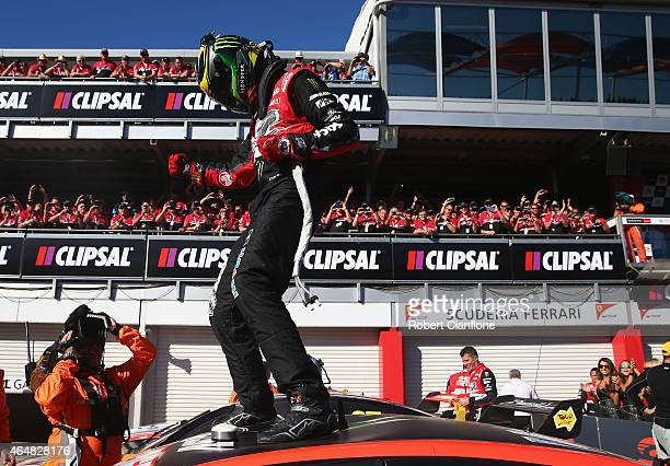 James Courtney driver of the Holden Racing Team Holden celebrates after winning race three for the V8 Supercars Clipsal 500 at Adelaide Street...