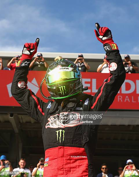 James Courtney driver of the Holden Racing Team Holden celebrates after winning race two for the V8 Supercars Clipsal 500 at Adelaide Street Circuit...