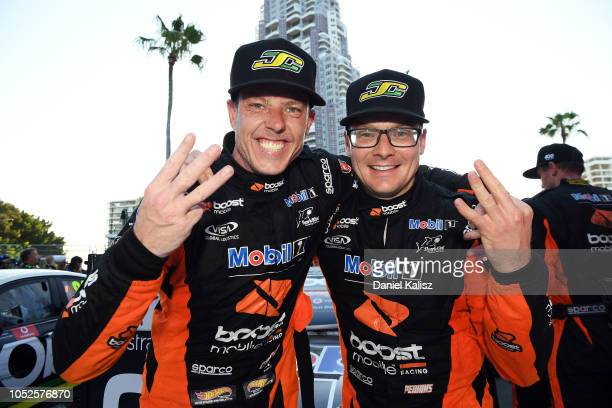James Courtney driver of the Mobil 1 Boost Mobile Racing Holden Commodore ZB and Jack Perkins driver of the Mobil 1 Boost Mobile Racing Holden...