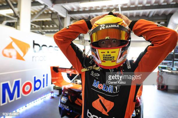 James Courtney driver of the Mobil 1 Boost Mobile Racing Holden Commodore ZB prepares during qualifying for Supercars Adelaide 500 on March 2 2018 in...