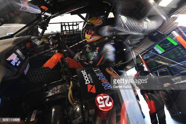 James Courtney driver of the Mobil 1 Boost Mobile Racing Holden Commodore ZB looks on during qualifying for Supercars Adelaide 500 on March 2 2018 in...