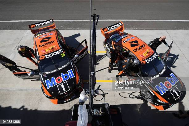 James Courtney driver of the Mobil 1 Boost Mobile Racing Holden Commodore ZB and Scott Pye driver of the Mobil 1 Boost Mobile Racing Holden Commodore...