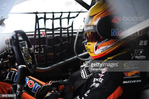 James Courtney driver of the Mobil 1 Boost Mobile Racing Holden Commodore ZB looks on during the Supercars Phillip Island 500 at Phillip Island Grand...