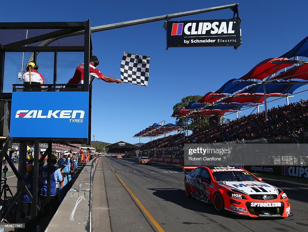 James Courtney drives the #22 Holden Racing Team Holden across the finish line to win race three for the V8 Supercars Clipsal 500 at Adelaide Street Circuit on March 1, 2015 in Adelaide, Australia.